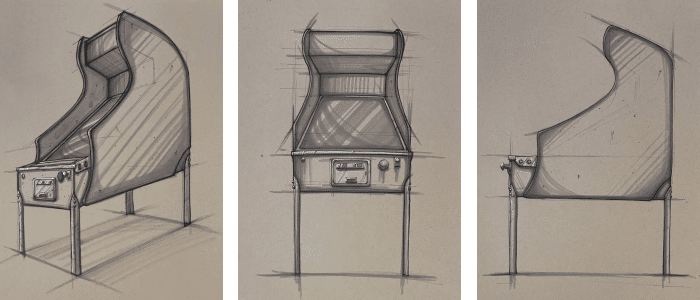 VIDBALL pinball cabinet mock-ups